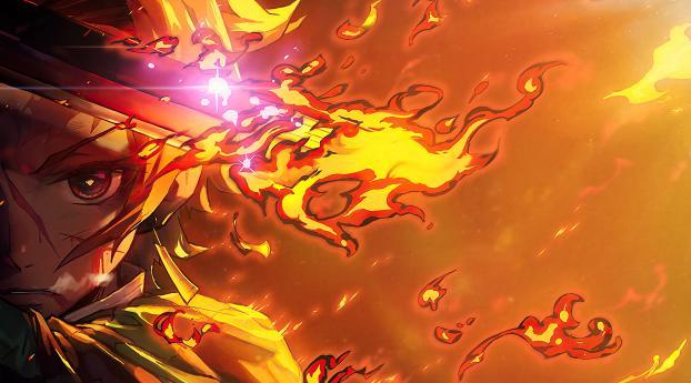 Tanjirou Kamado Demon Slayer Fire Art Wallpaper 2560x1440 Resolution