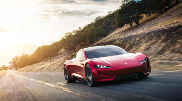 Tesla Red Roadster Wallpaper 240x320 Resolution