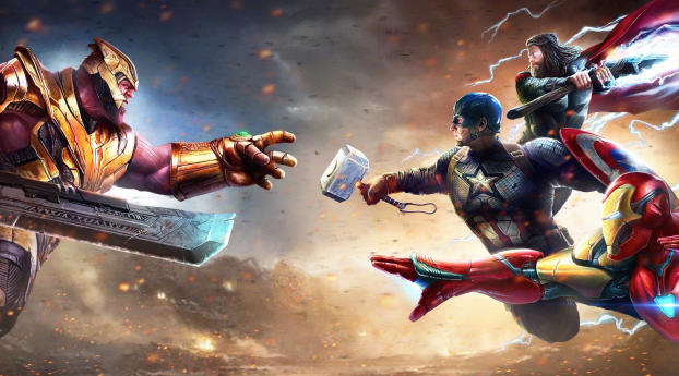 HD Wallpaper   Background Image Thanos Against Captain America Iron Man and Thor