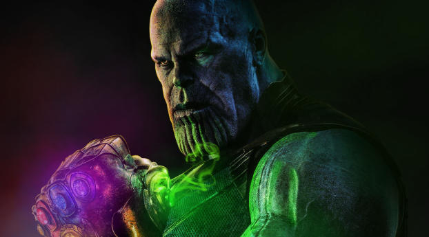Thanos Artwork With Infinity Stone Wallpaper
