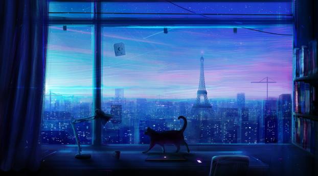 1242x2688 The Eiffel Tower Paris View Through An Open Window