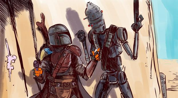 HD Wallpaper | Background Image The Mandalorian and IG11 Concept Art