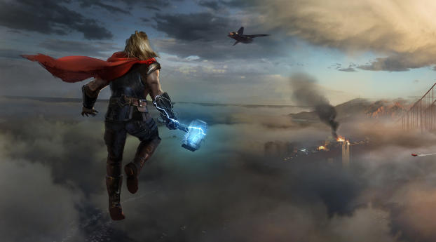 Thor Approaching Marvels Avengers Wallpaper