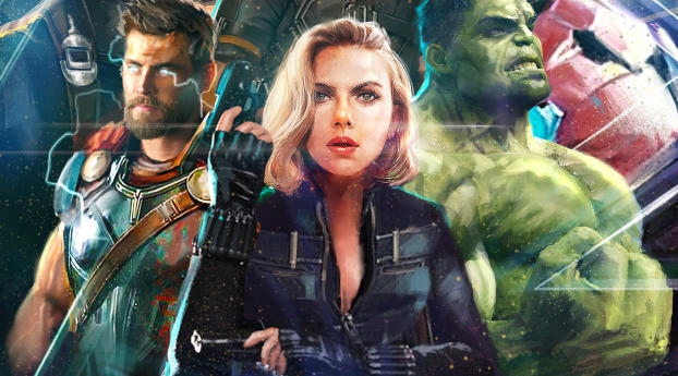 Thor Black Widow Hulk In Avengers Infinity War Artwork Wallpaper in 1336x768 Resolution