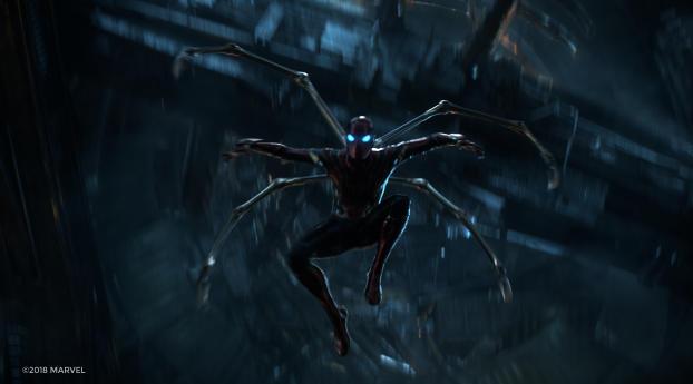 1125x2436 Tom Holland As Spider Man Iron Spider Suit Infinity War
