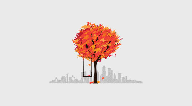 HD Wallpaper | Background Image Tree And Cityscape Minimal