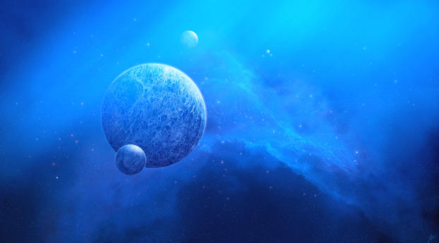 Two Planets Meeting Digital Art Wallpaper