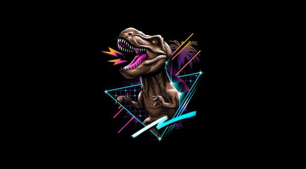 Tyrannosaurus Rex Dinosaur  Retrowave Wallpaper 2048x2048 Resolution