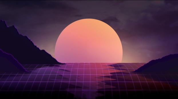 Vapor Wave Sunset Wallpaper