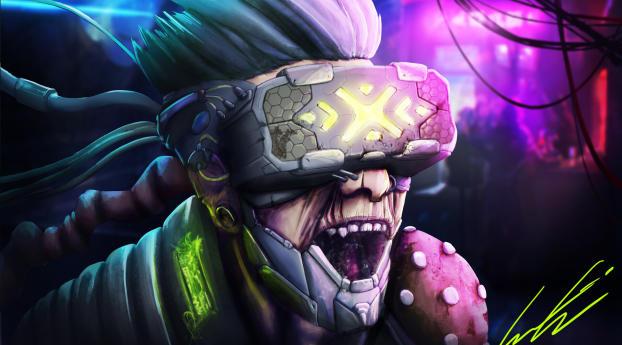 Virtual Reality Cyberpunk Psycho Art Wallpaper