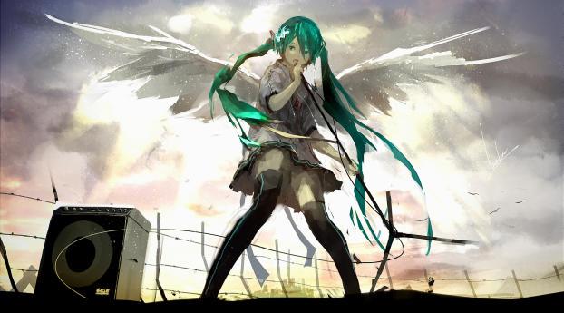 vocaloid, hatsune miku, wings Wallpaper