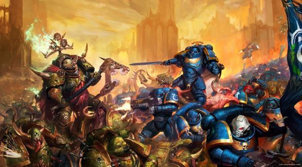 Warhammer 40k HD Warrior Battle Wallpaper