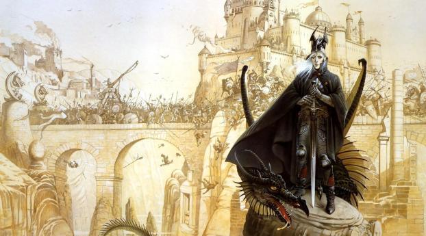 warrior, dragon, war Wallpaper