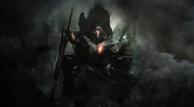 Warrior On The Throne Fantasy Wallpaper