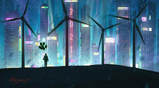 Wind Turbine in Futuristic City Wallpaper