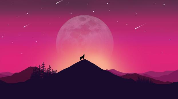 Wolf and Landscape Illustration Wallpaper