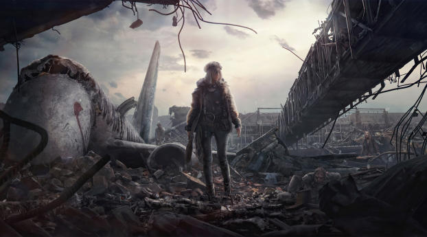Woman Alone in Post Apocalyptic Wallpaper