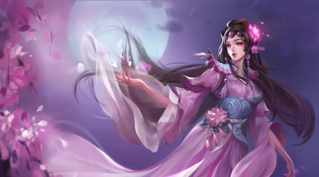HD Wallpaper | Background Image Woman with Sakura Full Moon