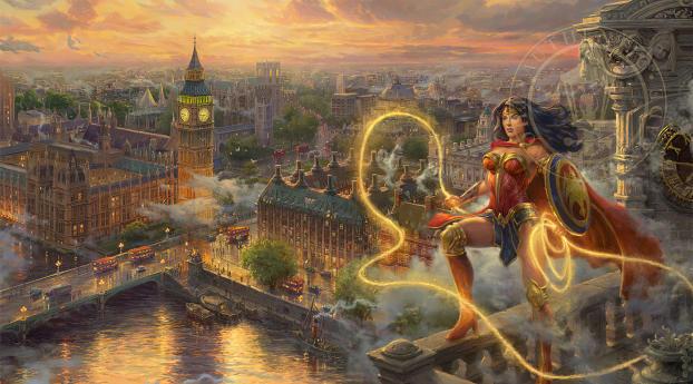 Wonder Woman In London Wallpaper