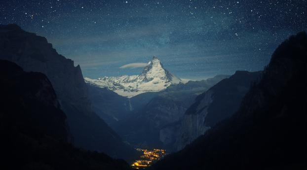 Zermatt-Matterhorn Aerial View at Night Wallpaper in 1080x1920 Resolution