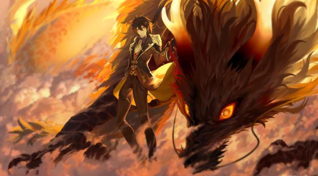 Zhongli with Dragon Genshin Impact Wallpaper