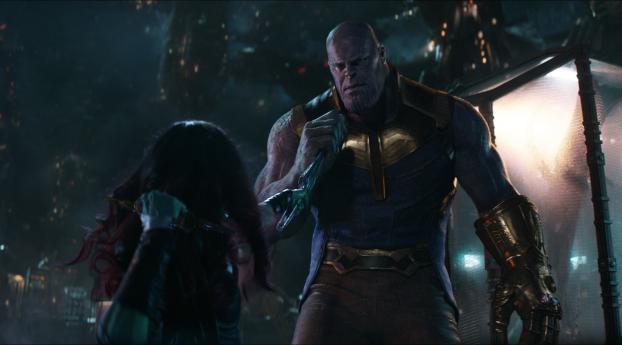 HD Wallpaper | Background Image Zoe Saldana Gamora try to Kill Thanos Josh Brolin