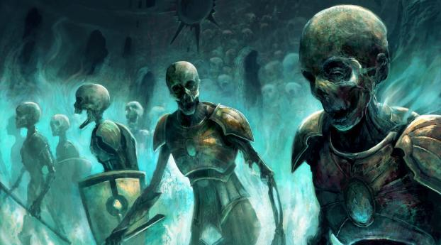 zombies, skeletons, magic Wallpaper